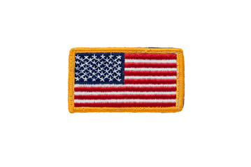 Rounded American flag patch isolated on white background