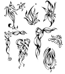 pattern of curls, hand drawing set