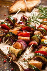 Grilled meat and vegetable skewers