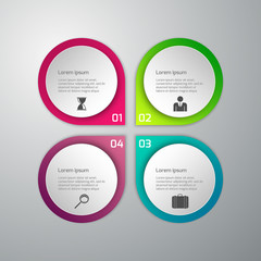 Vector illustration of business infographics 4 options . Set of