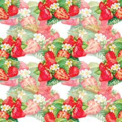 Seamless pattern of watercolor strawberries