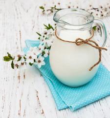 Milk and spring blossom