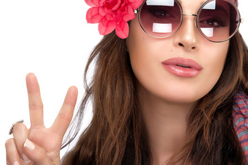 Pretty Fashionable Woman Showing Peace Hand Sign