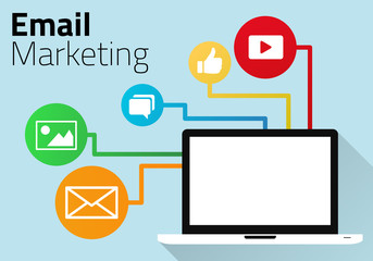 Email Marketing Concept with Laptop and Icons