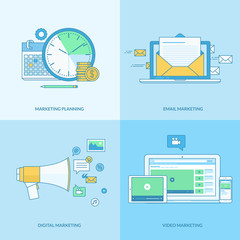 Set of line concept icons for internet marketing