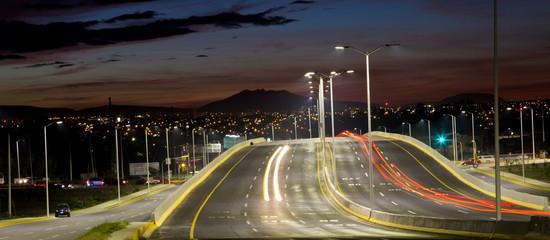 Street lights at night.