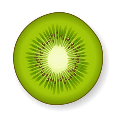 Section of a green fresh juicy kiwi fruit on white