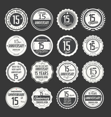 Anniversary retro labels 15 years collection