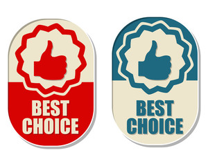 best choice and thumb up signs, two elliptical labels