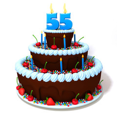 Birthday cake with number fifty five