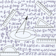 Math vector seamless texture with formulas and geometrical tools
