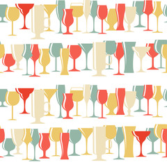 Alcoholic Glass Silhouette Seamless Pattern Background Vector Il
