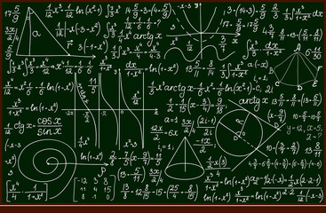 Vector school blackboard with mathematical calculations