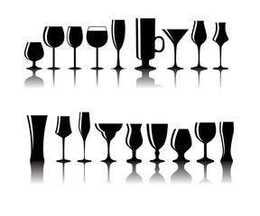 Set of Black Alcoholic Glass Silhouette Vector Illustration