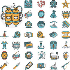 Diving flat icons vector collection