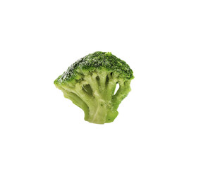 Fresh broccoli in closeup on the white