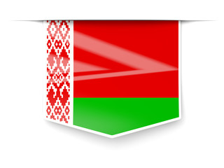 Square label with flag of belarus
