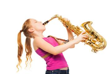 Happy girl playing saxophone on white background Fotobehang
