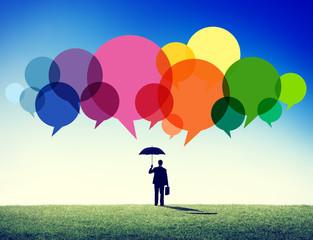 Businessman Standing Thoughts Ideas Speech Concept