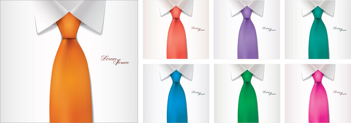 7 color variables of shirt and tie illustration, vector