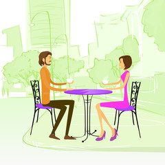 Couple Sitting Street Cafe Outdoor at Table