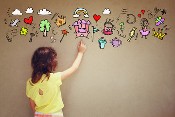 Photo of cute kid imagine princess or fairytale fantasy