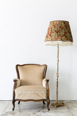 brown Vintage retro style Chair with lamp
