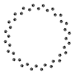 Paw prints circle frame