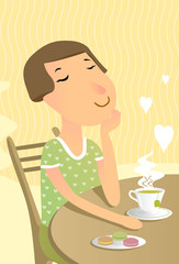 Relaxed woman drinks greeen tea