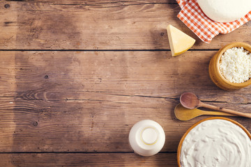 Printed roller blinds Dairy products Variety of dairy products laid on a wooden table background