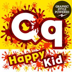 Vector set of funny children splash alphabet. Letter Q