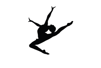 Vector illustration of gymnast silhouette