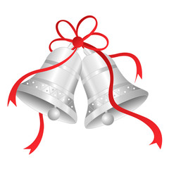 Silver bells with red ribbon bow