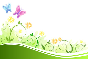 Background flowers green yellow flying blue pink butterfly
