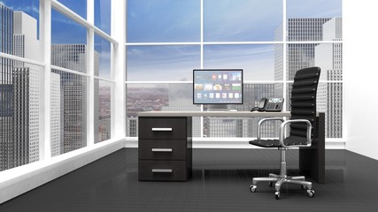 Interior of a modern office with window and cityscape view