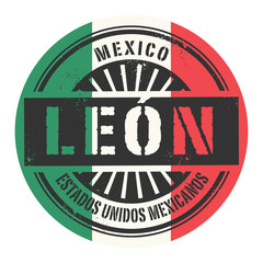 Grunge rubber stamp with the text Mexico, Leon