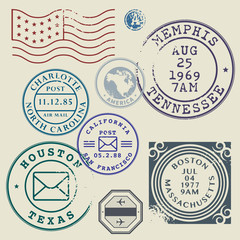 Retro postage stamps set