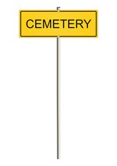 Cemetery. Road sign. Raster