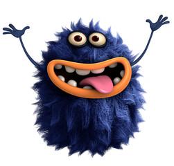 Poster de jardin Doux monstres blue cartoon hairy monster 3d
