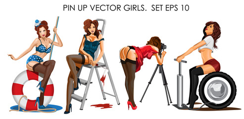 Vector collection ofpin up girls