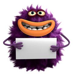 Photo sur Plexiglas Doux monstres purple cartoon hairy monster 3d