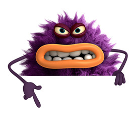Papiers peints Doux monstres purple cartoon hairy monster 3d