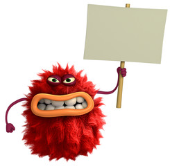 Zelfklevend Fotobehang Sweet Monsters red cartoon hairy monster 3d