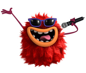 Poster de jardin Doux monstres red cartoon hairy monster 3d