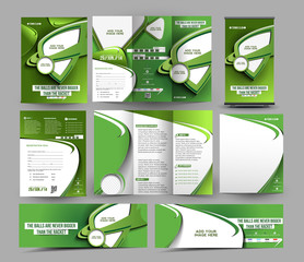 Tennis Club Business Stationery Set Template.