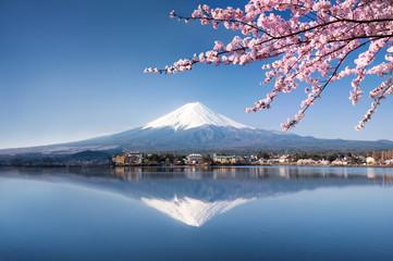 Foto auf AluDibond Gebirge Berg Fuji in Kawaguchiko Japan