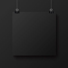 Black blank square sheet of paper, vector mock-up