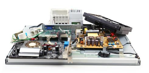 Electronic waste isolated on white
