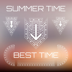Summer design on blured background with anchor