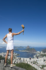 Athlete Standing with Sport Torch Rio de Janeiro Brazil